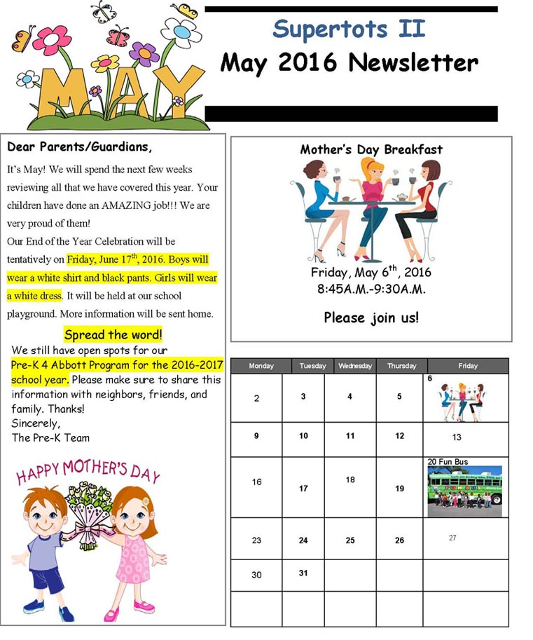 May 2016 News letter